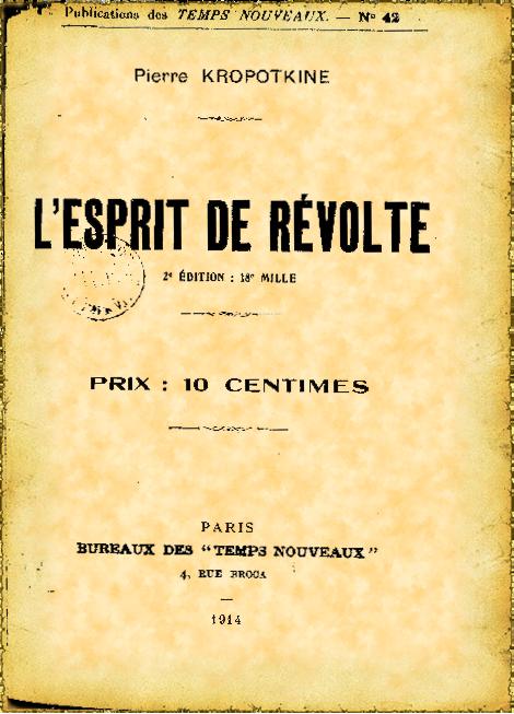 Couverture d'ouvrage: L'esprit de révolte
